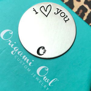 4 for $25 Origami Owl Large Silver I heart U Plate
